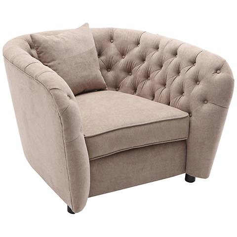 Rhianna Tufted Camel Fabric Accent Chair