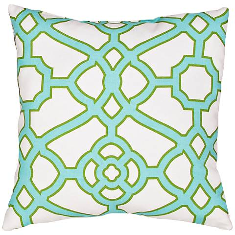 "Jaipur Veranda Gate Green 18"" Square Throw Pillow"