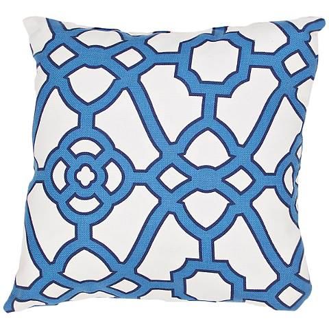 """Jaipur Veranda Gate Blue 18"""" Square Indoor-Outdoor Pillow"""