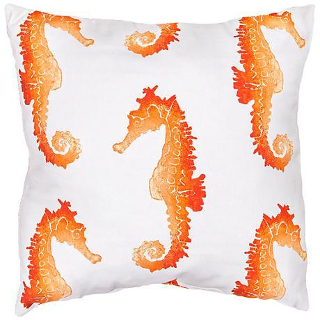 """Jaipur Veranda Orange Seahorse 18"""" Square Throw Pillow"""