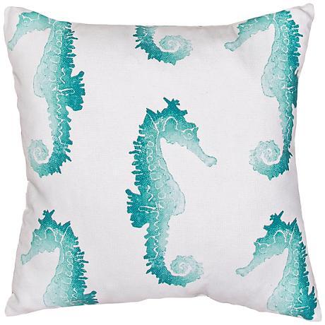 "Jaipur Veranda Blue Seahorse 18"" Square Throw Pillow"