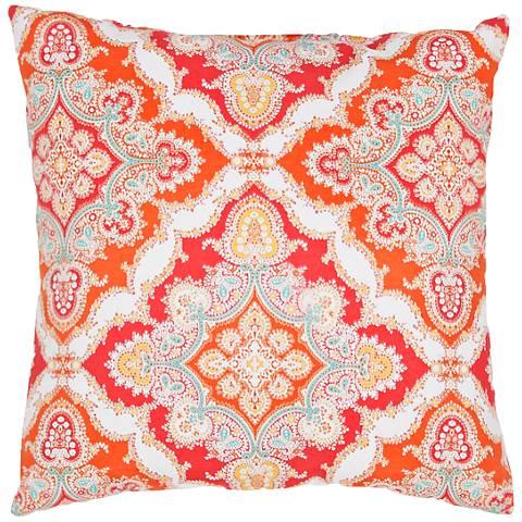 """Jaipur Veranda Tribal Tile Red 18"""" Square Throw Pillow"""
