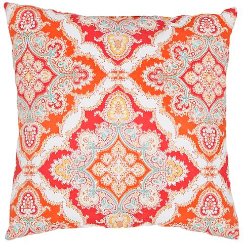 "Jaipur Veranda Tribal Tile Red 18"" Square Decorative Pillow"