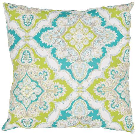 "Jaipur Veranda Tribal Tile Blue and Green 18""W Throw Pillow"