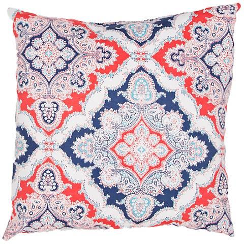 "Jaipur Veranda Tile Red and Blue 18"" Indoor-Outdoor Pillow"