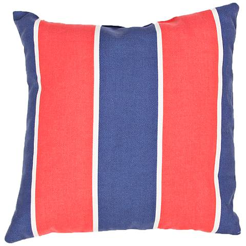 "Jaipur Veranda Striped Blue Red 18"" Indoor-Outdoor Pillow"