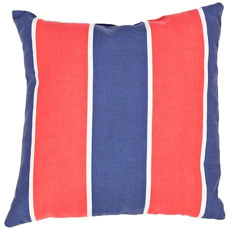 "Jaipur Veranda Striped Blue and Red 18""W Striped Pillow"