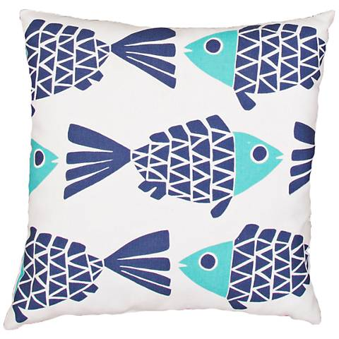 "Jaipur Veranda Blue Flowing Fish 20"" Indoor-Outdoor Pillow"