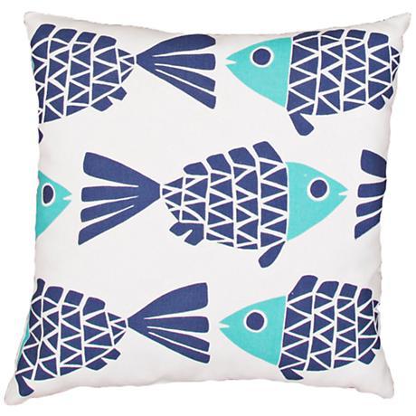 "Jaipur Veranda Blue Flowing Fish 20"" Square Throw Pillow"