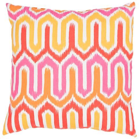 "Jaipur Veranda Pink Wave 20"" Square Indoor-Outdoor Pillow"