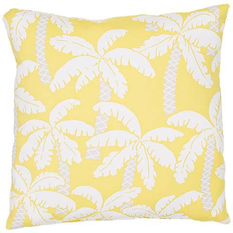 """Jaipur Veranda Yellow Palm 20"""" Square Indoor-Outdoor Pillow"""