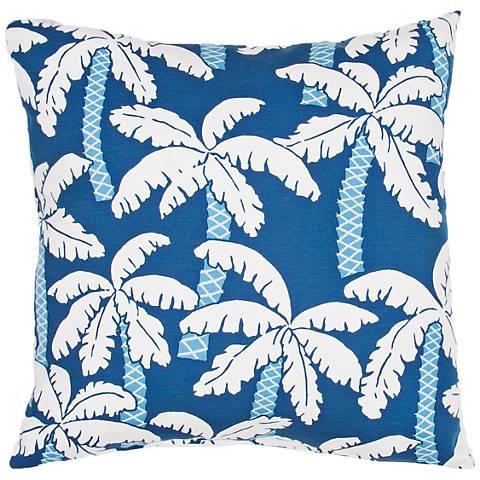 """Jaipur Veranda Blue Palm 20"""" Square Indoor-Outdoor Pillow"""