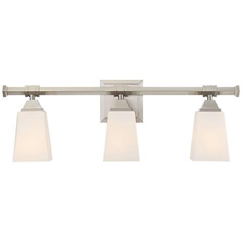 "Possini Euro Cadwell 24""W 3-Light Satin Nickel Bath Light"