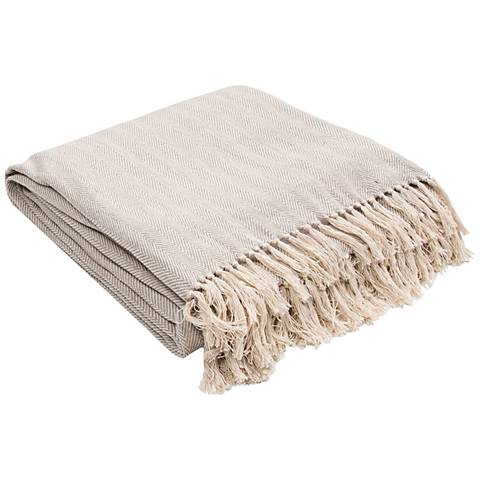 Jaipur Seabreeze Light Gray Cotton Fringe Throw Blanket