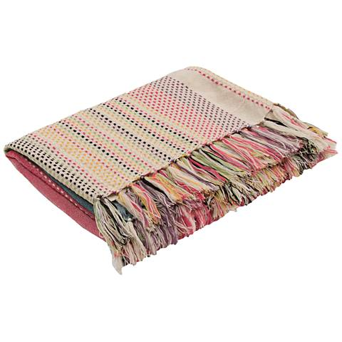 Jaipur Posy Multi-Colored Dot Dash Fringe Throw Blanket
