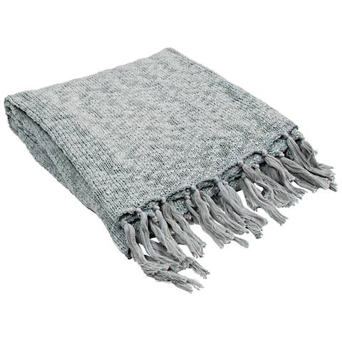 Jaipur Gem Pale Blue Cotton Fringe Throw Blanket
