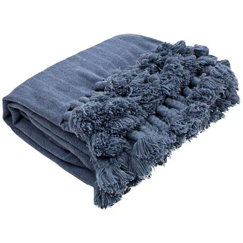 Jaipur Native Blue Fringe Wool Throw Blanket
