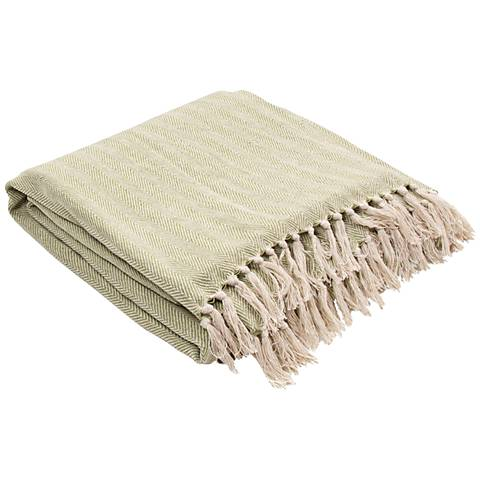 Jaipur Seabreeze Pale Green Cotton Fringe Throw Blanket