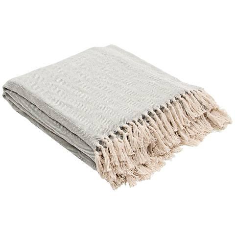 Jaipur Seabreeze Pale Blue Cotton Fringe Throw Blanket