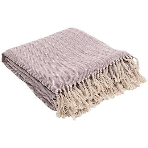 Jaipur Seabreeze Light Purple Cotton Fringe Throw Blanket