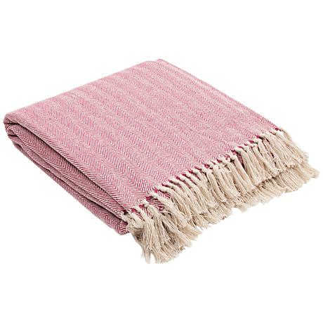 Jaipur Seabreeze Light Red Cotton Fringe Throw Blanket