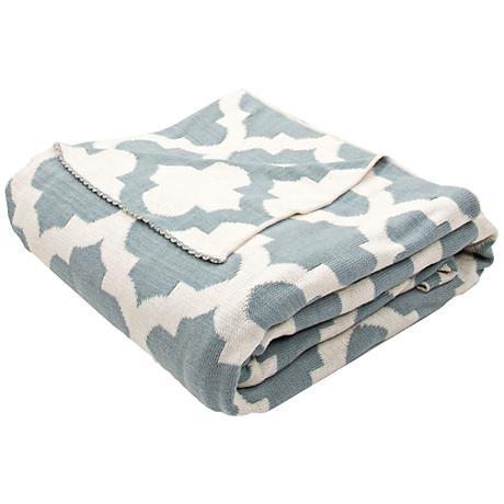 Jaipur Trinity Light Blue Quatrefoil Cotton Throw Blanket