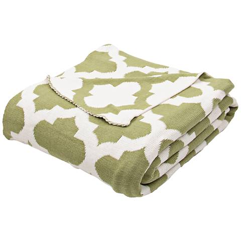 Jaipur Trinity Light Green Quatrefoil Cotton Throw Blanket