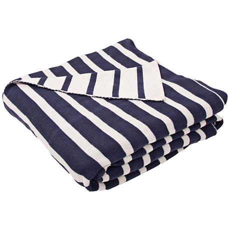 Jaipur Trinity Blue and Ivory Cotton Throw Blanket