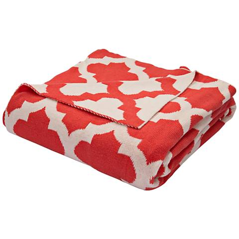 Jaipur Trinity Light Red Quatrefoil Cotton Throw Blanket