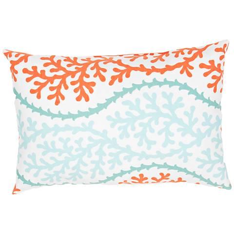 """Jaipur Veranda Aqua Coral 18""""x13"""" Indoor-Outdoor Pillow"""