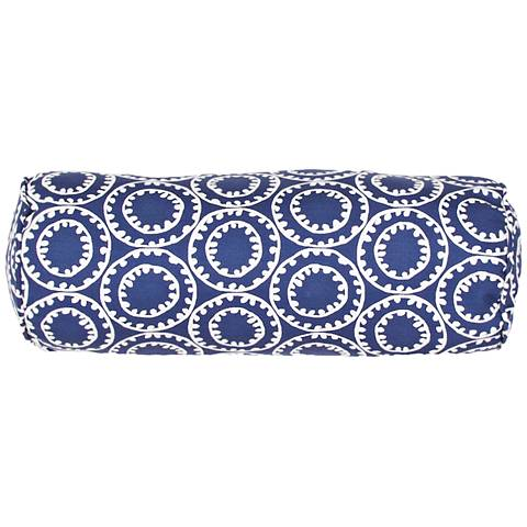 "Jaipur Veranda Circle Dark Blue 20""x7"" Indoor-Outdoor Pillow"