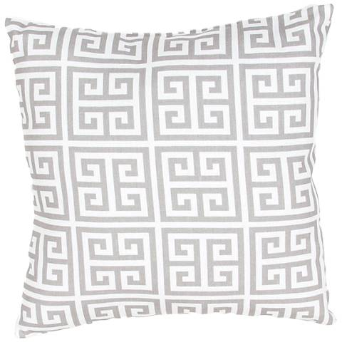 "Jaipur Veranda Greek Key Gray 18"" Indoor-Outdoor Pillow"