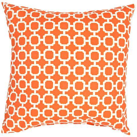 "Jaipur Veranda Chain Bold Orange 18"" Indoor-Outdoor Pillow"