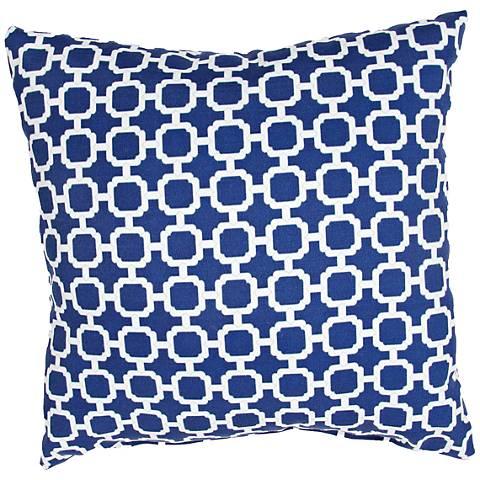 "Jaipur Veranda Chain Blue 18"" Indoor-Outdoor Pillow"
