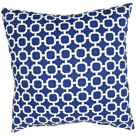 "Jaipur Veranda Chain Blue 18"" Square Outdoor Pillow"