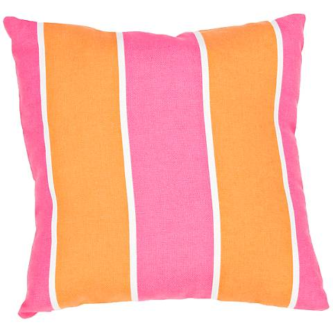 "Jaipur Veranda Orange-Pink 18"" Striped Indoor-Outdoor Pillow"