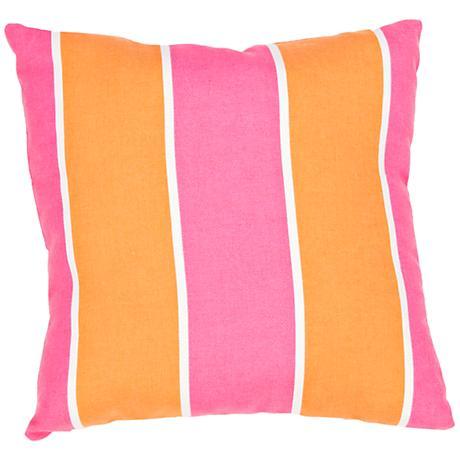 "Jaipur Veranda Orange-Pink 18""W Striped Outdoor Pillow"