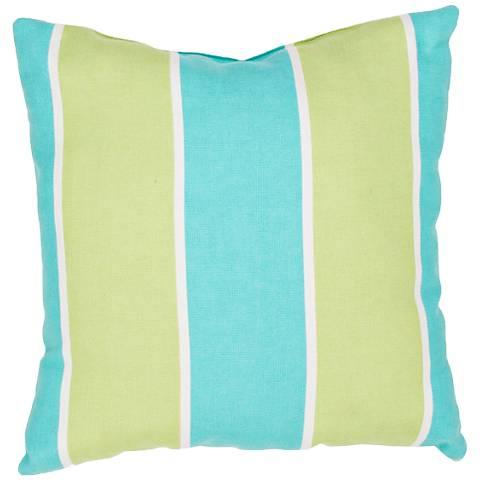 "Jaipur Veranda Green-Blue 18""W Striped Indoor-Outdoor Pillow"