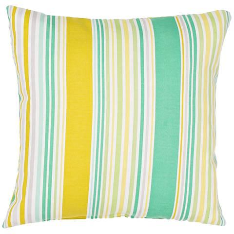 "Jaipur Veranda Green-Yellow 18""W Striped Outdoor Pillow"