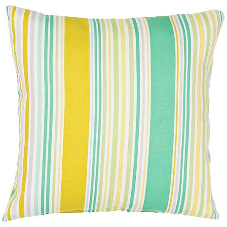 "Jaipur Veranda Green-Yellow 18""W Striped Outdoor Pillow"