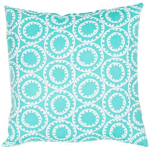 "Veranda Circle Turquoise Blue 18"" Indoor-Outdoor Pillow"