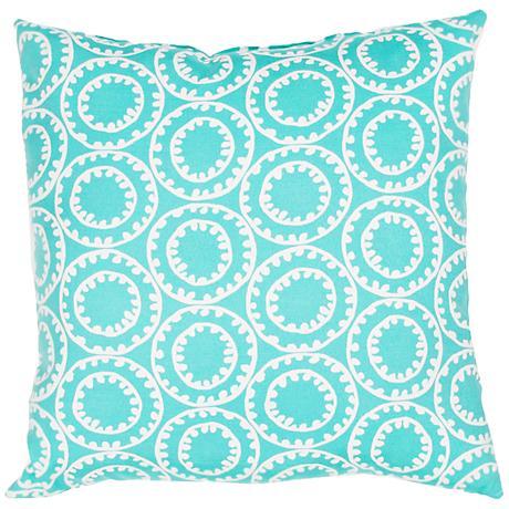 """Jaipur Veranda Circle Turquoise 18"""" Square Outdoor Pillow"""