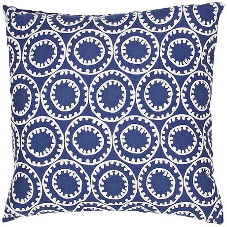 "Jaipur Veranda Circle Dark Blue 18"" Square Outdoor Pillow"