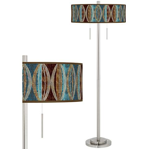 Pearl Leaf Peacock Taft Giclee Brushed Nickel Floor Lamp