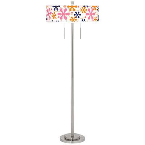 Retro Pink Taft Giclee Brushed Nickel Floor Lamp