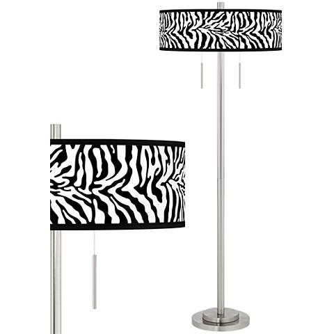 Safari Zebra Taft Giclee Brushed Nickel Floor Lamp