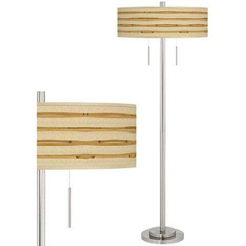 Bamboo Wrap Taft Giclee Brushed Nickel Floor Lamp