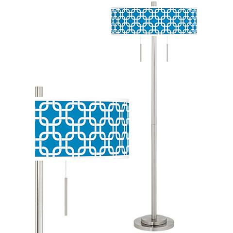Blue Lattice Taft Giclee Brushed Nickel Floor Lamp