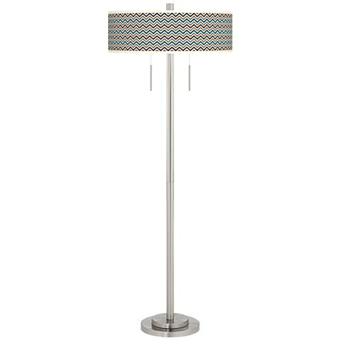Zig Zag Taft Giclee Brushed Nickel Floor Lamp