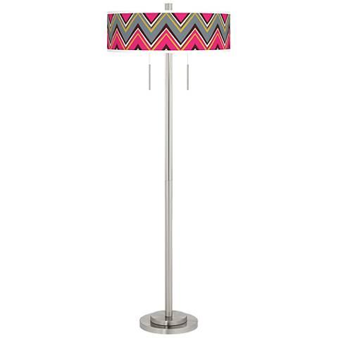 Chevron Pride Pink Taft Giclee Brushed Nickel Floor Lamp